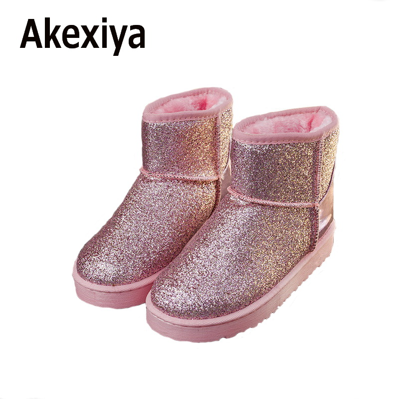 Akexiya Bling Glitter Snow Boots Women Thick Fur Warm Flat Platform Cotton Sequined Cloth Ankle Boots Winter Shoes custom fit car floor mats for mazda 3 6 2 8 cx 5 3d car styling heavy duty all weather protection carpet floor liner ry155