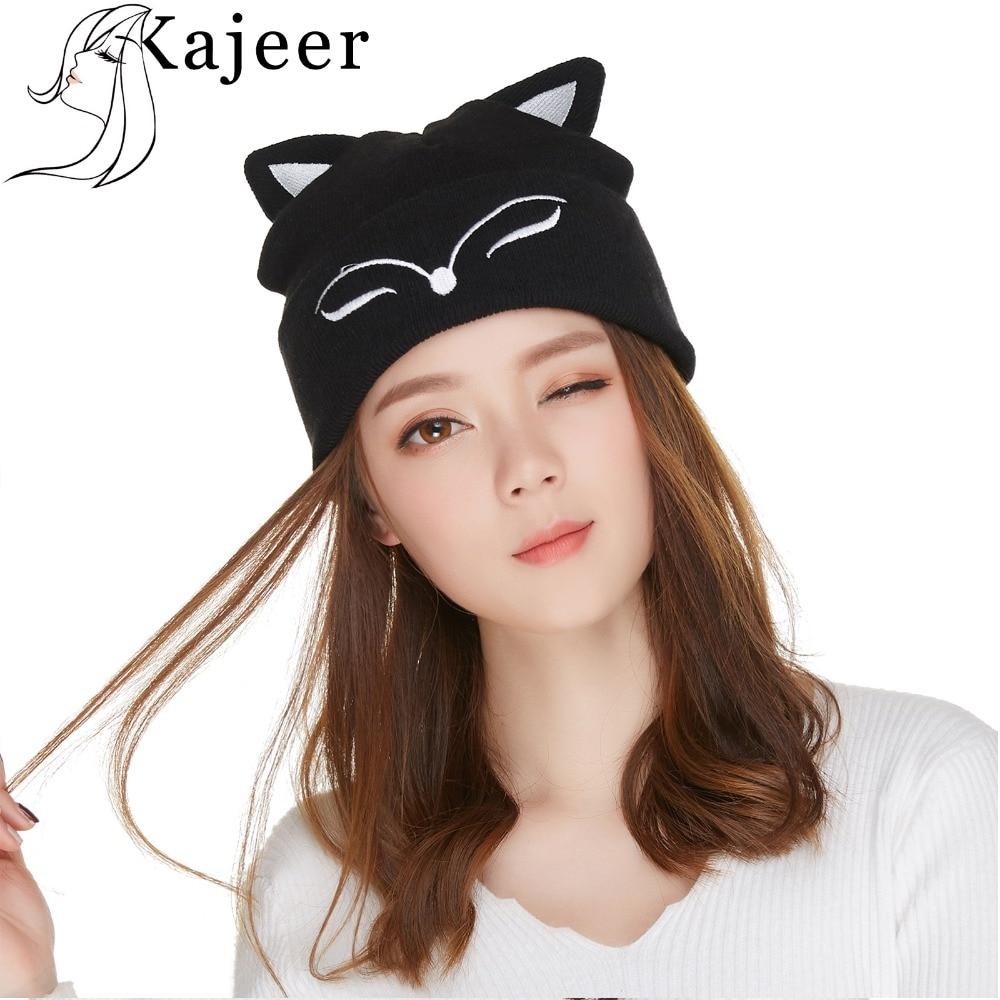 Kajeer Female Winter Caps Hats Cotton Black Sexy Fox Ears Hat Caps Warm Soft Hats For Men WomenCaps   Skullies     Beanies