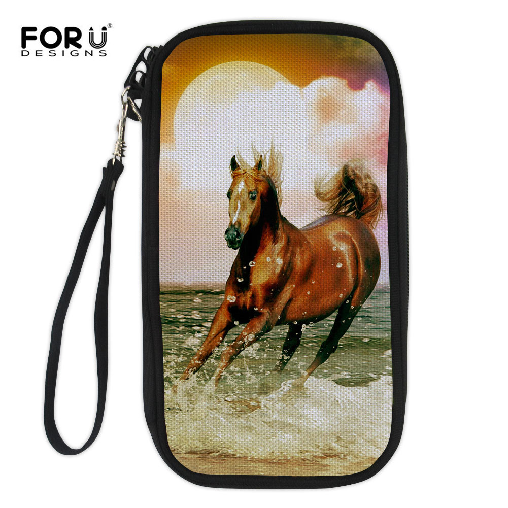 FORUDESIGNS Horse Print Passport Wallet For Credit Cards Women Men Travel Phone Bag Portefeuille ID Credit Cards Storage Bags