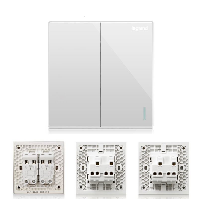 ФОТО High Quality 2 Gang 3 Way Wall Switch Kit Magnolia White Large Panel including Intermediate Switch Double Control Switch