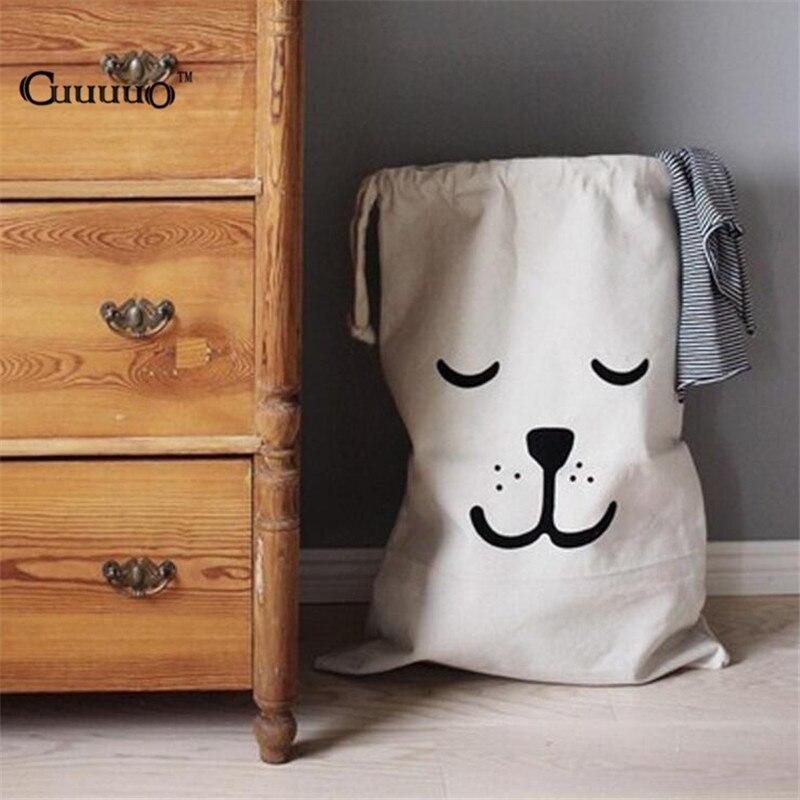 Foldable Canvas Kids Toy Storage Bags Batman Bear Pattern Bath Laundry Bag Pouch Baby Room Wall Pocket Clothes Organizer