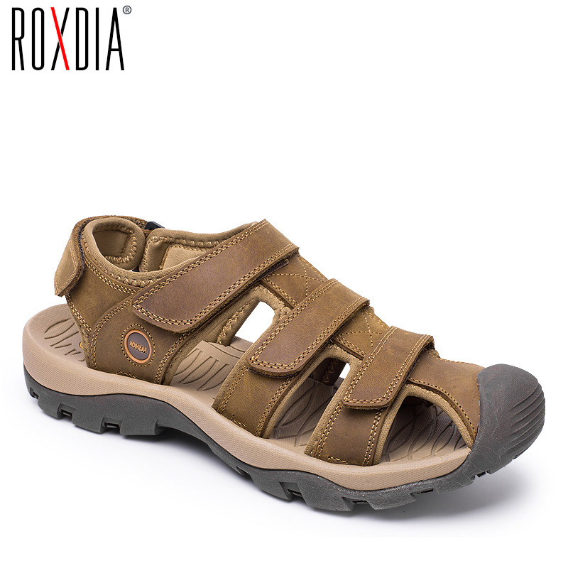 ROXDIA  Plus Size 39-46 Genuine Leather Men Sandals For Mens Gladiator Sandal Fashion Summer Breathable Male Beach Shoes RXM046(China)