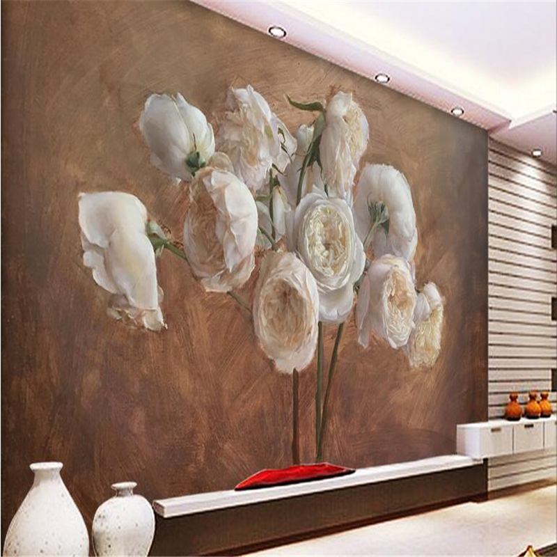 Beibehang Wall Paper Custom  Wall Sticker Mural European Retro Hand Painted Oil Rose Peony Rose Flower Wallpaper Background Wall