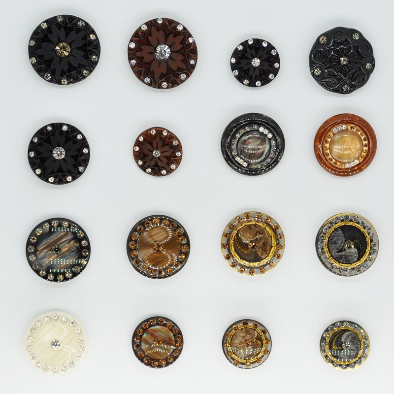 Free Shipping Craft Buttons  BIG Handmade Decorative Rhinestone Resin Buttons,sewing Buttons For Clothing Accessories Fur Coats