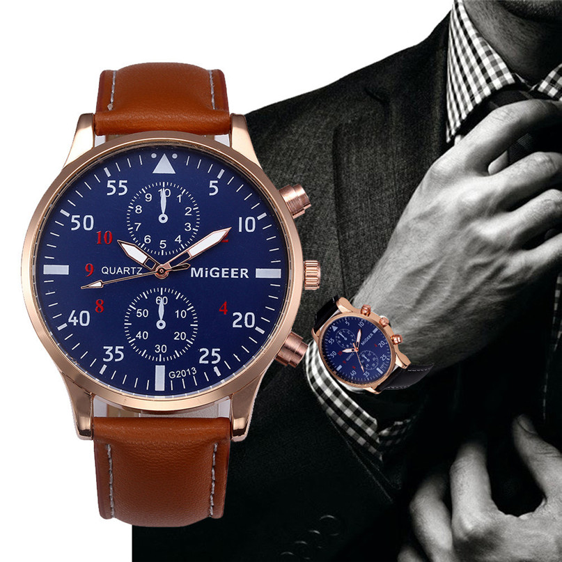 2017 new MIGEER brand Men watch high quality Business Retro Design Leather Band Analog Alloy Quartz Wrist Watch Feb2 2017 new new retro design leather band analog alloy quartz wrist watch relogio feminino ladies watch 08