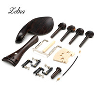 Zebra Violin Parts Tailpiece Pegs Chinrest Maple Bridge Endpin Tuner Tail Gut Set For 4 4
