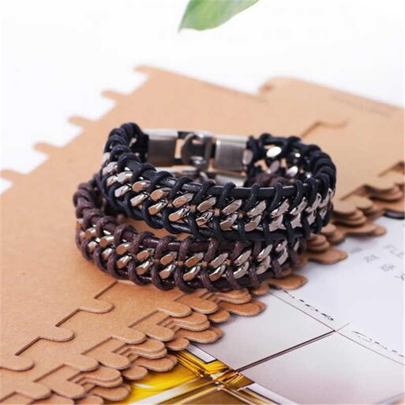W stylu Vintage bransoleta pleciona z naturalnej skóry Punk szeroki mankiet wydrążona bransoletka dla mężczyzn biżuteria hurtowych bransoletki ze stali nierdzewnej