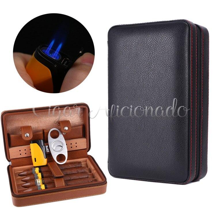 Aficionado étui à cigares de voyage en cuir Portable cave à cigares doublée de bois de cèdre avec torche Jet allume-cigare en métal coupe-cigare ensemble