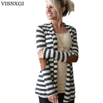 VISNXGI 2020 Cotton Striped Cardigan Women Sweater Elbow Patching PU Leather Long Sleeve Jacket Knitwear Poncho Pull Femme Hiver