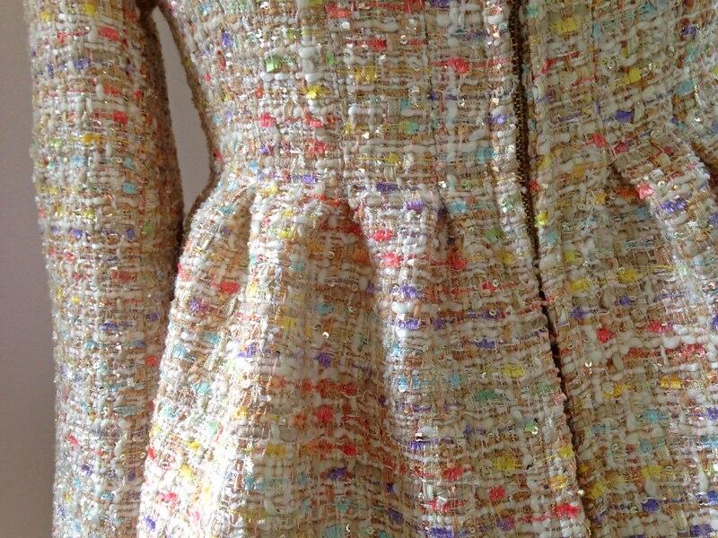 Tweed Conception Courte Élégant Chinoiserie Starlight Dames Lynette's Printemps Haute Veste Beige Originale Qualité Automne De Paillette Volants t7vZvwxpq