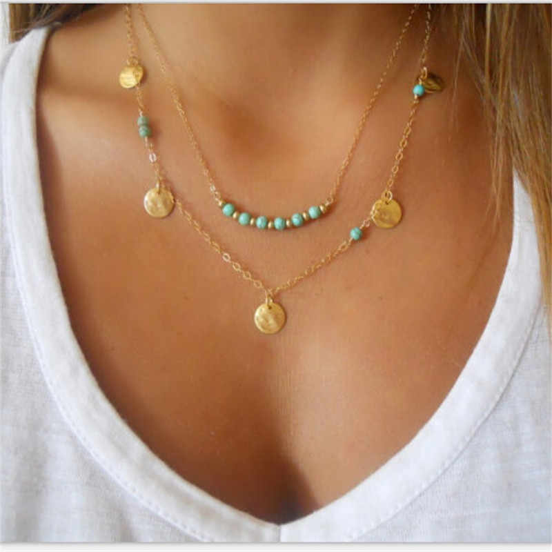 x134 Bohemian Style Multilayered Chain Necklace Gold Color Round Circle Pendant Necklace Women Fashion Jewelry Clavicle Necklace