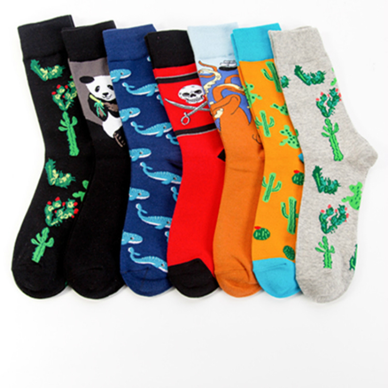 Cute Octopus Whale Panda Animals Plant Cactus Cartoon Happy Men Socks Fashion Funny Harajuku Casual Cotton Socks Autumn Winter