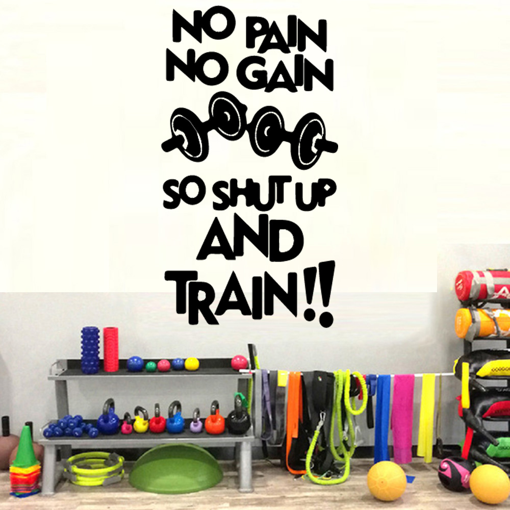Creative Gym Decor Wall Stickers Quote No Pain No Gain Vinyl Wall
