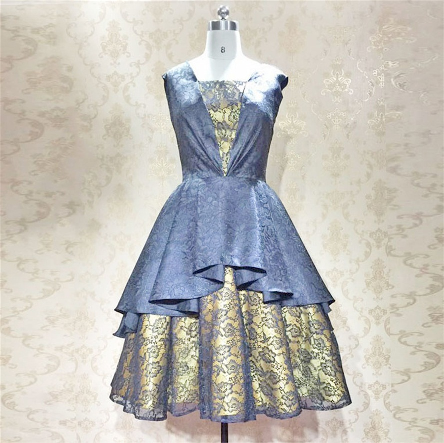 Alexzendra Lace Tea Length Black Short Prom Dresses Scoop Printed ...