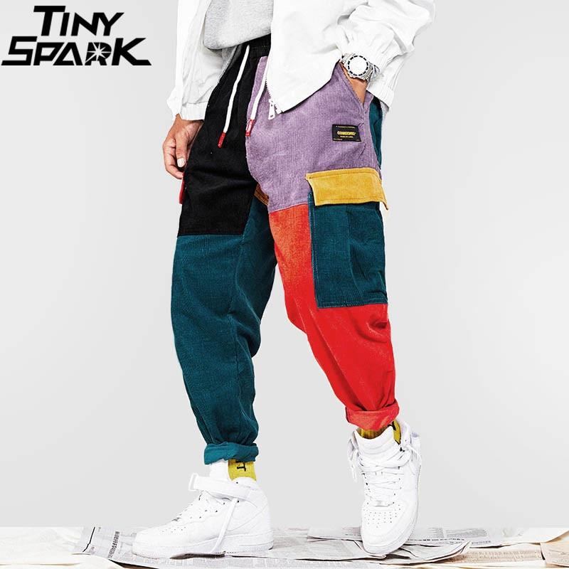 Хип брюки для девочек Винтаж цвет блок лоскутное вельвет брюки карго дамские шаровары уличная Harajuku беговые штаны хлопковые 2018