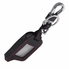 4 Buttons Leather Car Styling Key Cover Case For Russian Version Vehicle Security Two Way Alarm System TOMAHAWK X5 Keychain