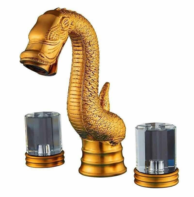 Золото clour твердая латунь 3 шт. широкое туалете Ванная комната раковина кран кристалл ручки DRAGON кран на бортике