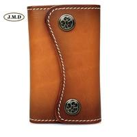 J.M.D Genuine Leather Fashion Style Brown Color Key Bag Card Holder Key Case 6 Key Hook ups Business Portable Key Bag 8130B 1