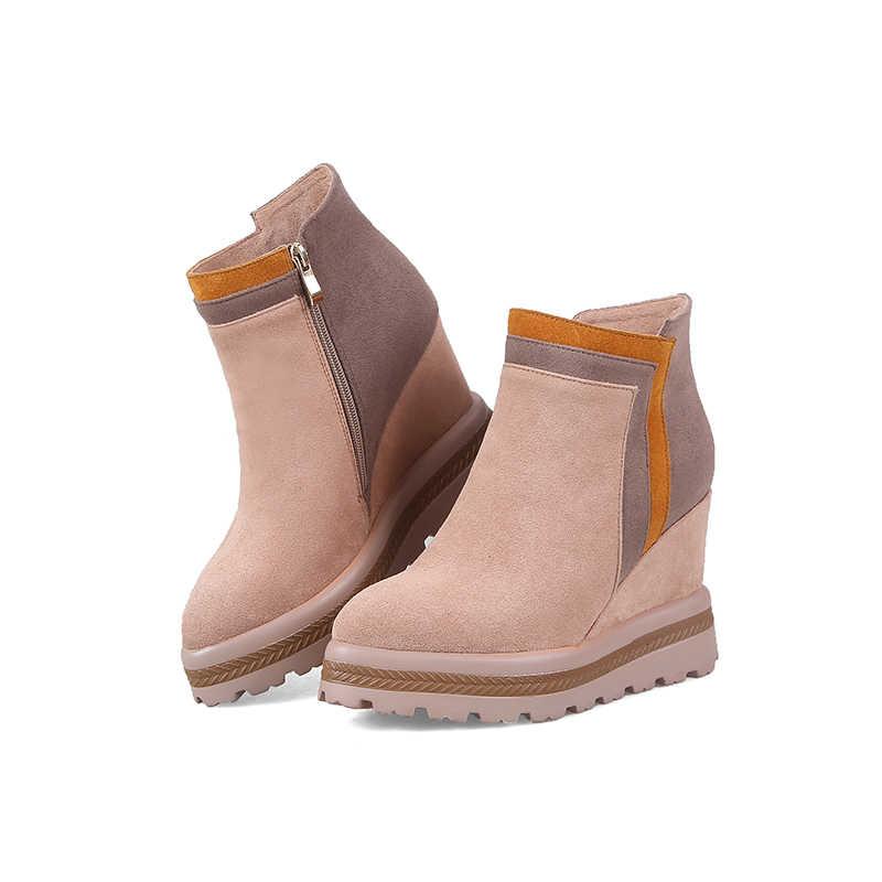 WETKISS Akın Yüksek Topuklu Kadın yarım çizmeler Takozlar Zip Ayakkabı 2018 Yeni Kış Sivri Burun Bayanlar Çizme platform ayakkabılar Kadın Pembe