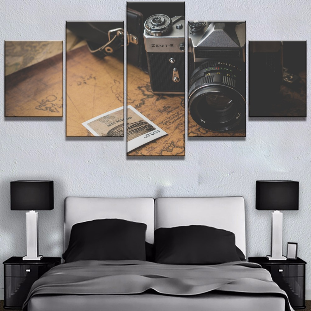 5 Piece Canvas Art Traveling Camera Map Cuadros Decoracion Paintings on Wall for Home Decorations Decor