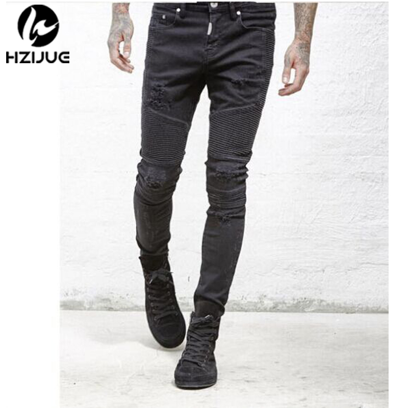 HZIJUE 2017 High-Street Mens Ripped Rider Biker Jeans Slim Fit Washed Black Grey Blue Moto Denim Pants Joggers For Skinny Men skinny biker jeans men hi street ripped rider denim jeans motorcycle runway slim fit washed moto denim pants joggers jw104