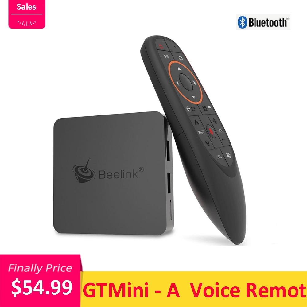 Beelink gtmini-um android 8.1 smart tv box 4 k amlogic s905x2 4 gb 64 gb 2.4g + 5.8g wifi 1000 mbps bt4.0 h.265 hdr10 2.4g voz remoto