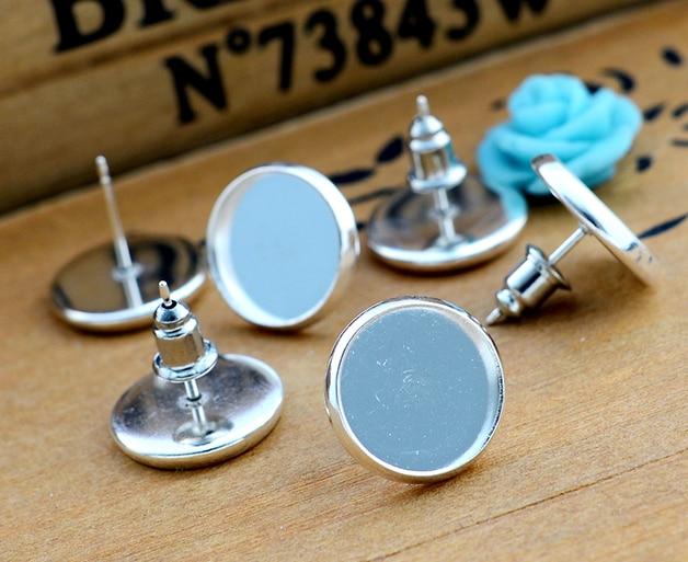 12mm 20pcs Silver Plated Earring Studs,Earrings Blank/Base,Fit 12mm Glass Cabochons,earring Setting;Earring Bezels (L4-01)