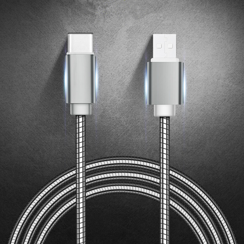 Heavy Duty Metal Braided <font><b>USB</b></font> Charger <font><b>Cable</b></font> for <font><b>IPhone</b></font> X Xr 7 <font><b>6</b></font> Type C for Samsung Note 9 S10 S9 S8 Data <font><b>Cable</b></font> for Micro 2A FAST image