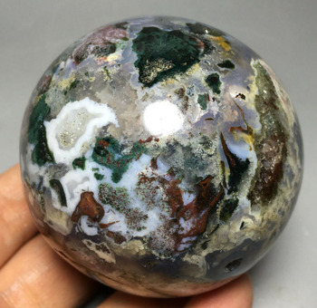 417g RARE NATURAL OCEAN JASPER QUARTZ CRYSTAL sphere BALL HEALING awards