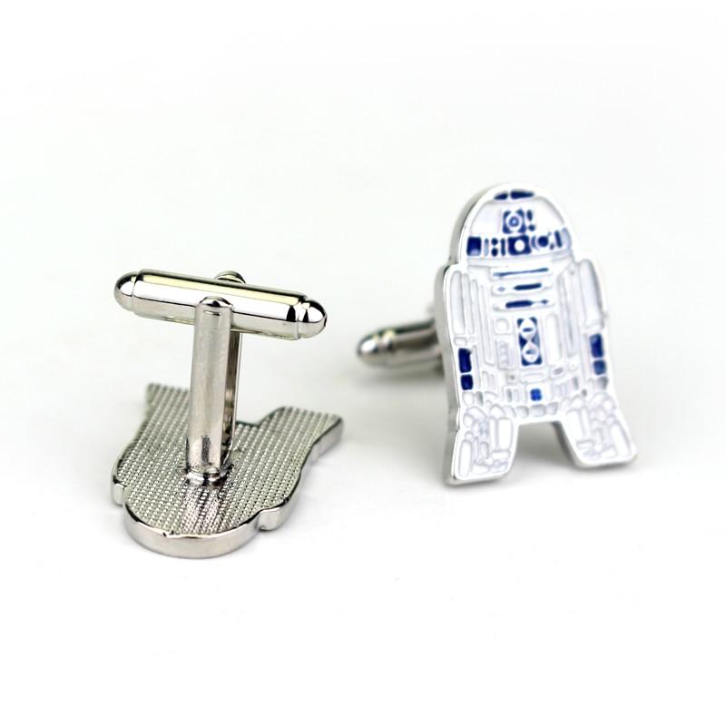 Star Wars 3D Figure Robot R2D2 Cufflinks For Shirts Movie Accessories Cuffs Buttons Pins