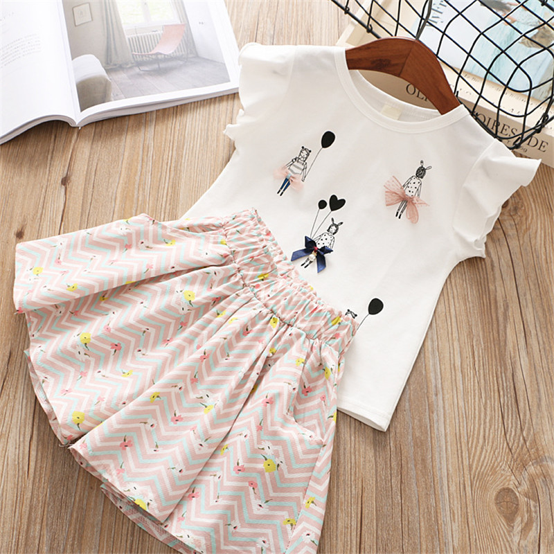 Summer girl clothing 2018 new fashion active cartoon bow flower kid children baby girl clothes T-shirt+skirt 2 pcs clothing sets fashion minnie t shirt long tutu skirt 2 pcs baby girls clothing children cartoon suits new summer clothes set free shipping
