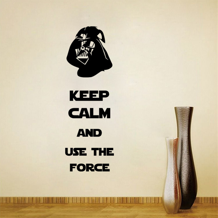 Star wars removable wall stickers decals adesivo de parede keep calm and use the force home decor decoration wallpaper in wall stickers from home garden