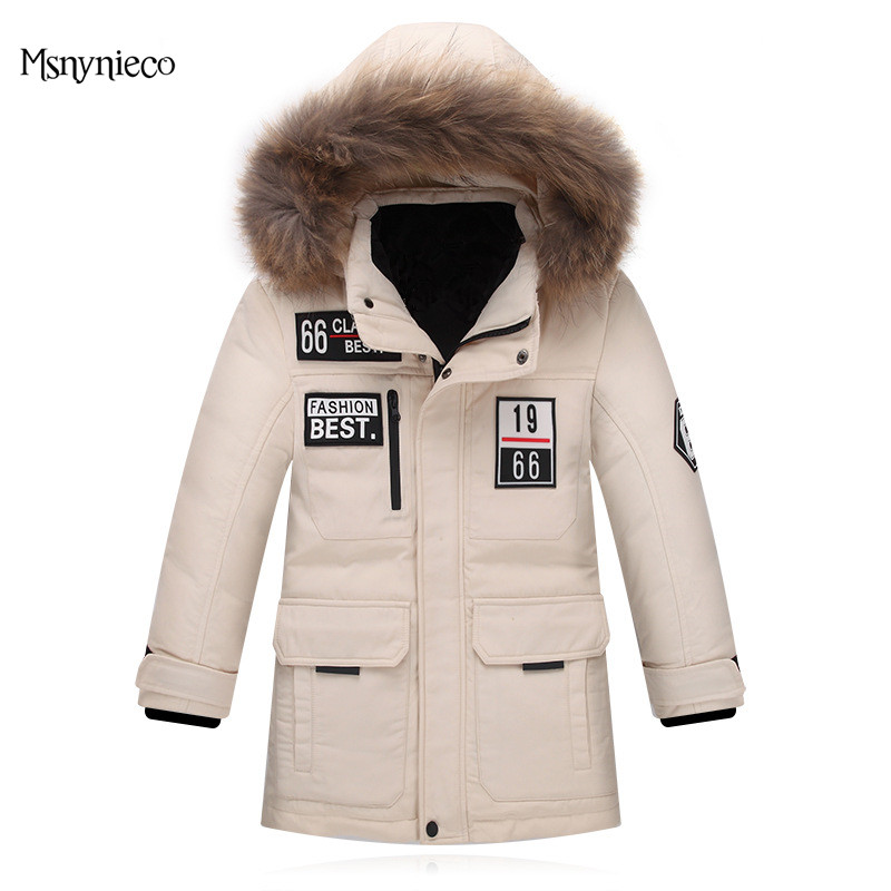 High Quality Winter Down Jacket for Boys Thick Warm Hooded Girls Overcoats Casual Letter Children Outdoor Wear Snowproof Parkas mmc brand children s winter thick warm brief style gradient splice high quality hooded down coats for girls 90