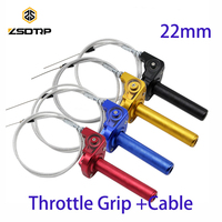 Free shipping ZSDTRP CNC Aluminum 22mm colors Throttle Grip Quick Twister+Cable fit on all this size motorcycle Dirt Bike Motor