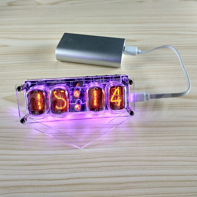 IN 12 Glow Tube Clock 4 bit IN12 glow tube clock Seven color RGB LED DS3231