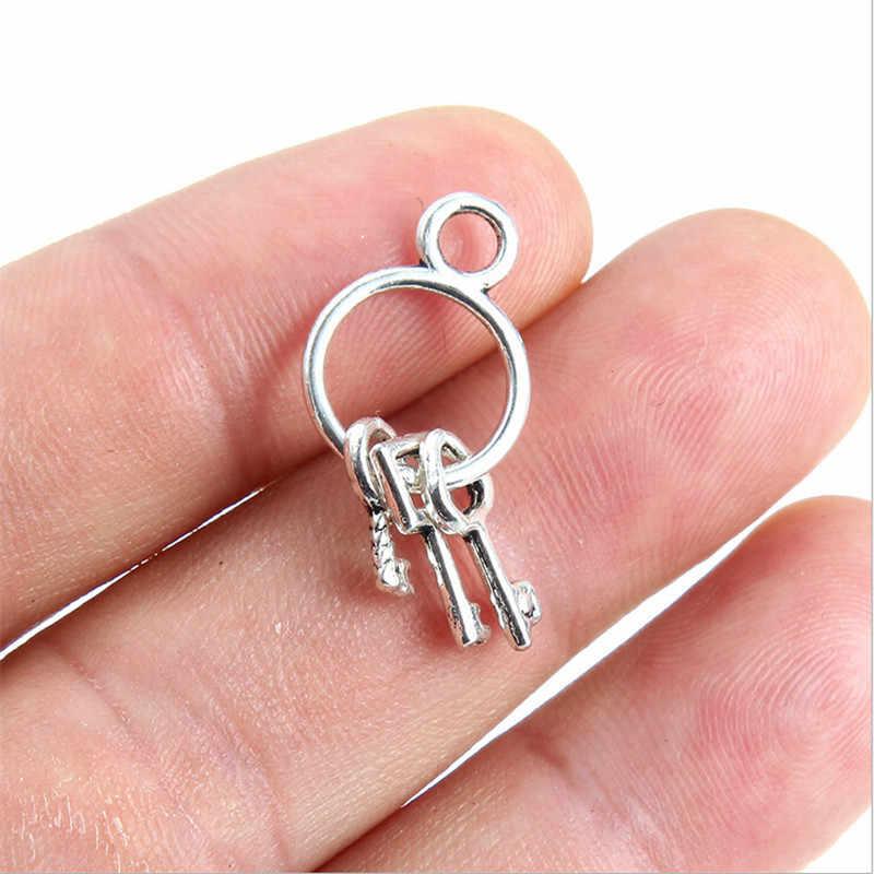 5 cái/lốc sáng tạo vòng chìa khóa Vòng tay mặt dây chuyền cho tự làm vòng tay Vòng cổ retro Tây Tạng hạt bạc Chất liệu trang sức phụ kiện