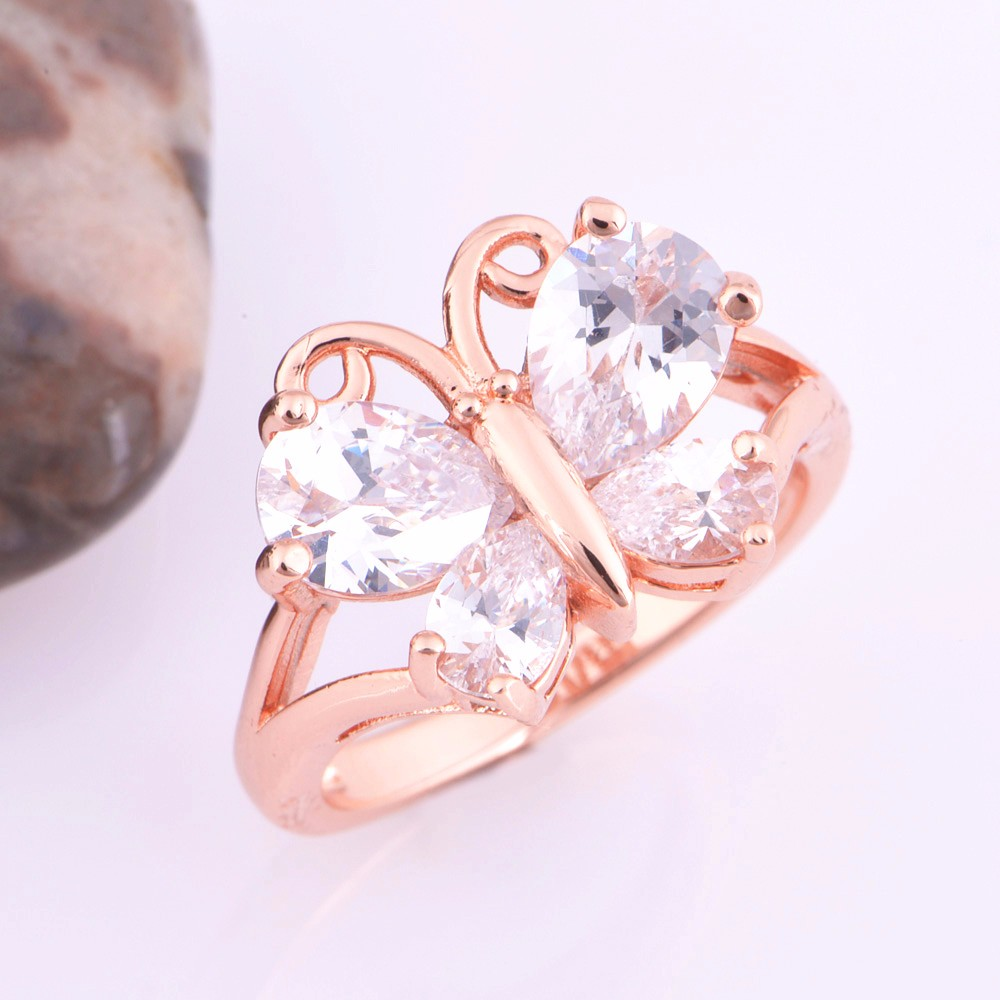 Uloveido Rose Gold Color Butterfly Crystal Jewelry Set for Women ...