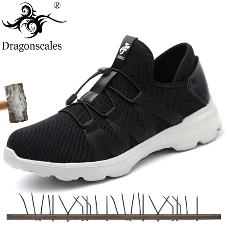 Men Steel Toe Safety Work Shoes Breathable Sneakers Anti Smashing Slip Resistant Industrial Boots Wearable Protection Footwear