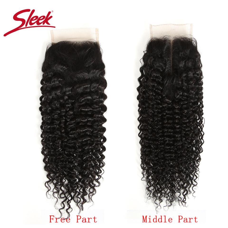 Sleek Remy Human Hair 4X4 Lace Closure Free/ Middle /Three Part Indian Kinky Curly Hair Swiss Lace Closure Natural Color Remy