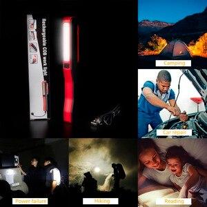 Image 5 - COB LED Flashlight Emergency Working Light With Magnet Pocket Clip Camping Light Built In Battery Multi purpose LEDs Penlight