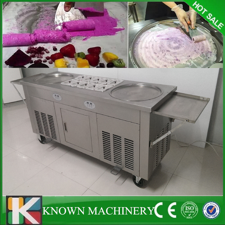 Free shipping double pans with 10 cooling food tanks thaniland fried fry roll fry ice cream