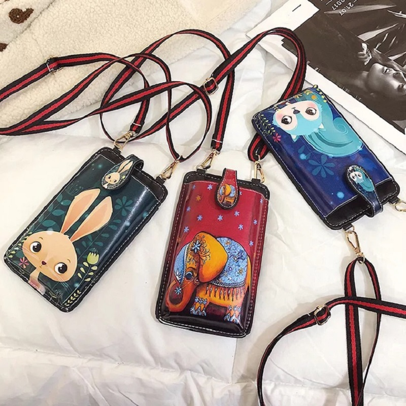 Cartoon Printing Crossbody Bags For Women 2019 Women\\\'S Phone Bag Cute Girls Card Holder Coin Purse Leather Bags 2019