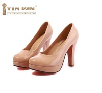 Spring New Fashion Thick Heel Ultra High Heels Japanned Leather Round Toe Single Shoes Fashion