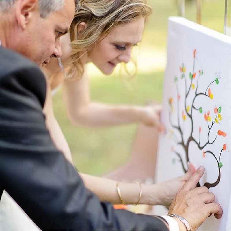 אישית חתונה טביעות אצבע עץ בד פוסטר ספר אורחים חתונה מתנות לב ספר אורחים חתונה בד ציור פוסטר