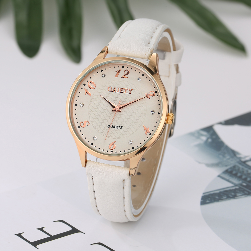 Gaiety Brand Women Luxury Leather Watch 2017 Alloy Rose Case Quartz Wristwatch Ladies Dress Fashion Watch New Year Gift G021 hot sale luxury crystal rose gold high quality leather quartz gift watch wristwatch for women ladies girls 1 year warrenty