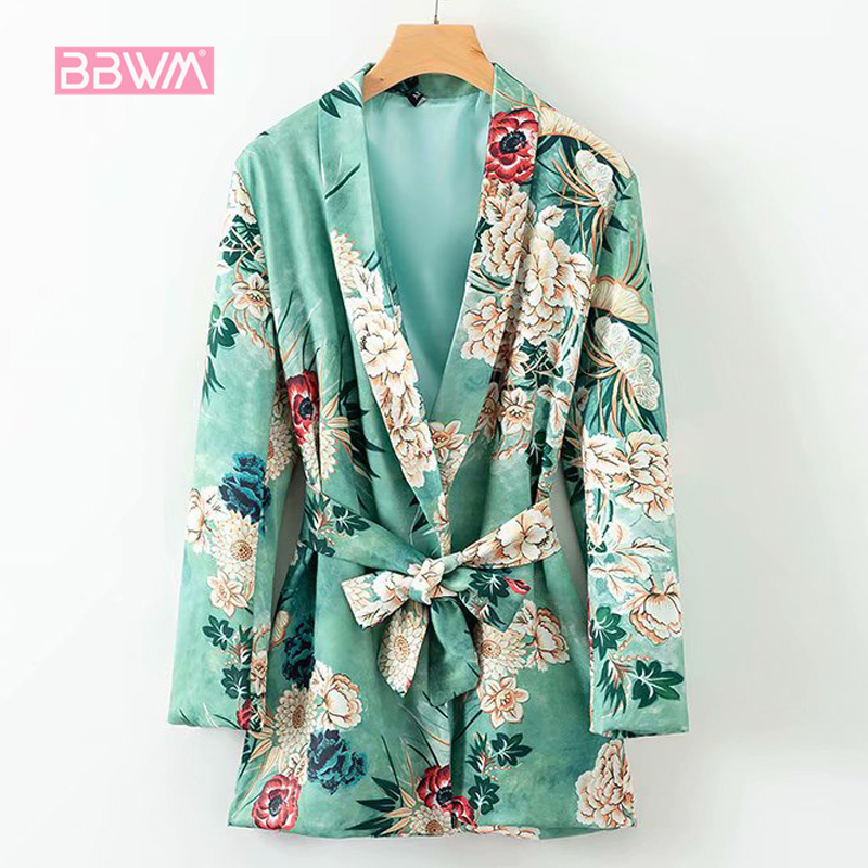Autumn Women's Holiday Loose Loose Printed Long Paragraph Robe Shawl Lace Kimono Female Jacket Small Suit  2018