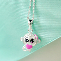 S925 Sterling Silver Necklace Wholesale This Life Cute Monkey Silver Necklace Sterling Silver Jewelry Female Jewelry