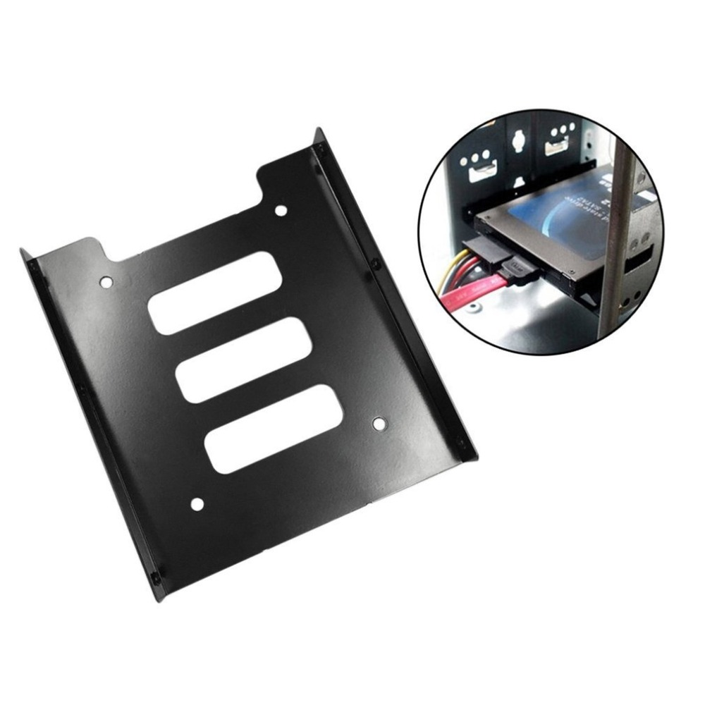Onleny 2.5 Inch To 3.5 Inch SSD HDD Metal Adapter Rack Hard Drive SSD Mounting Bracket Holder For PC Black