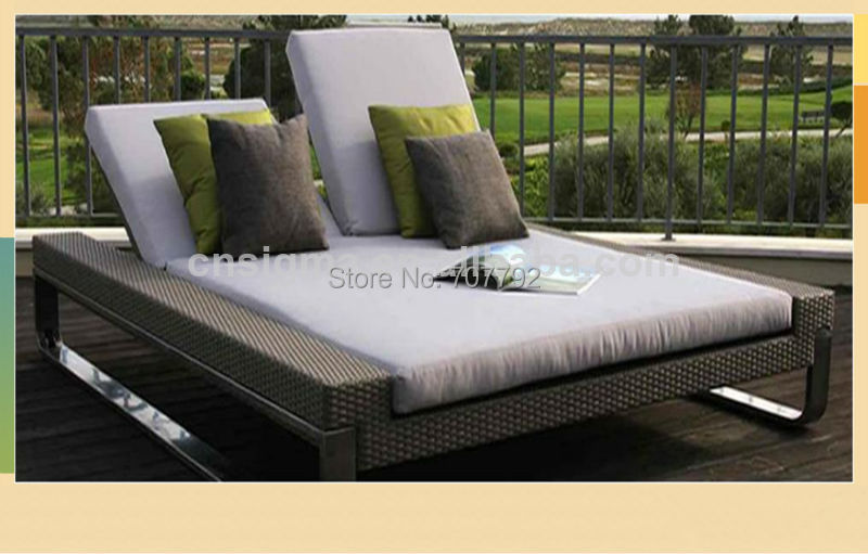 2014 Hot Sale Luxury Modern Outdoor Double Rattan Sunny Lounger Daybed