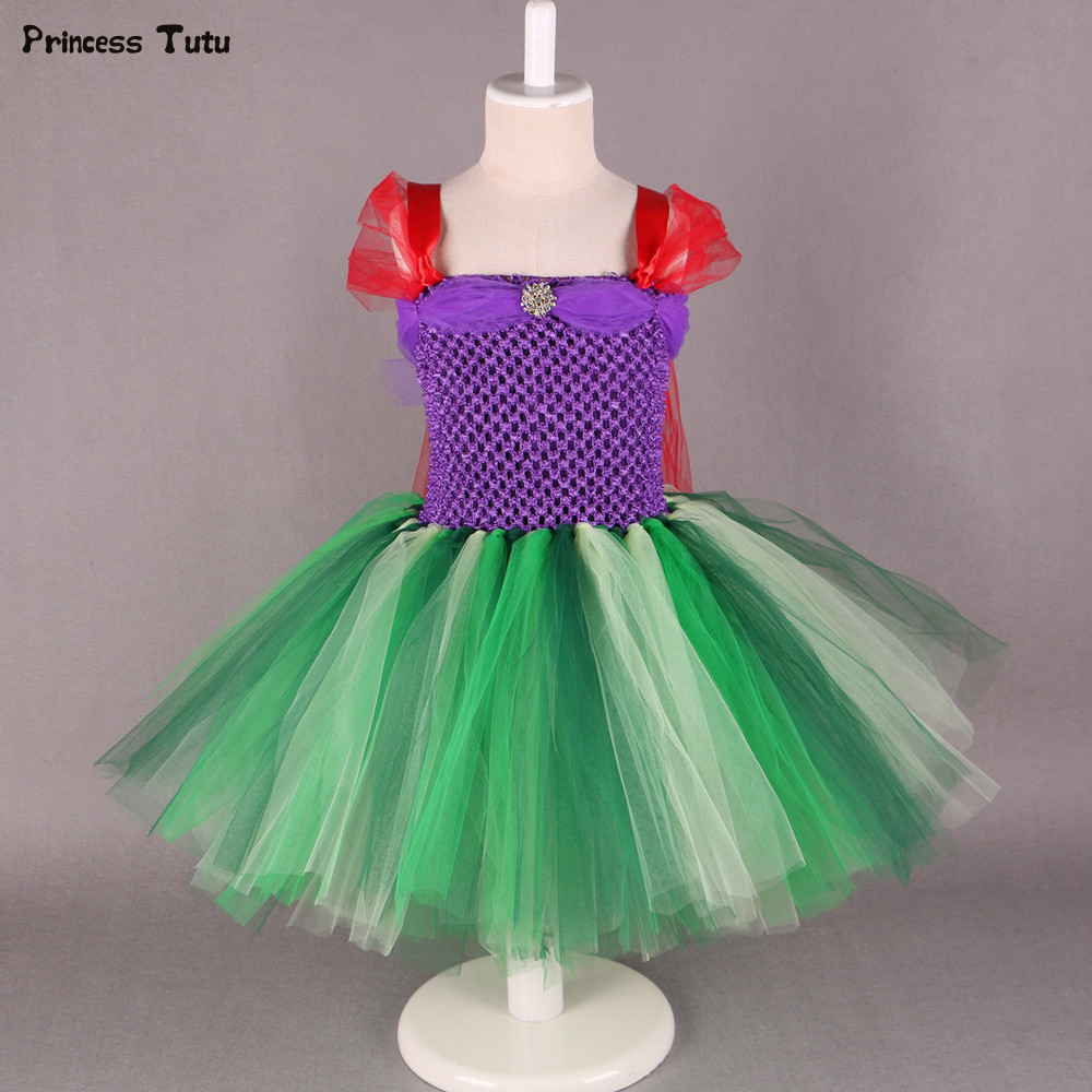 Little Mermai Tutu Dress Girl Kids Cosplay Princess Ariel Dress Costume Knee-Length Baby Girl Halloween Birthday Party Dresses movie the little mermaid princess ariel costume women ariel fancy dress cosplay dress